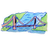 Watercolor drawing kids cartoon bridge on white Royalty Free Stock Photo