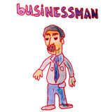 Watercolor drawing kids cartoon businessman on a Royalty Free Stock Image