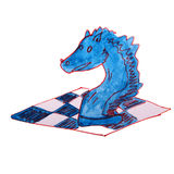 Watercolor drawing kids cartoon chess on white Stock Images
