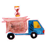 Watercolor drawing kids cartoon delivery on white Royalty Free Stock Image