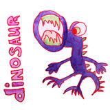Watercolor drawing kids cartoon dinosaur on white Royalty Free Stock Image