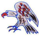 Watercolor drawing kids cartoon eagle on white Royalty Free Stock Images