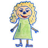 Watercolor drawing kids cartoon girl on white Royalty Free Stock Photo