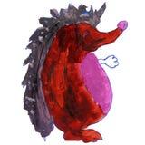 Watercolor drawing kids cartoon hedgehog white Stock Photo