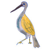 Watercolor drawing kids cartoon heron on white Royalty Free Stock Images