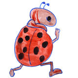Watercolor drawing kids cartoon ladybug on white Royalty Free Stock Photo