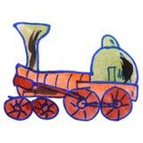 Watercolor drawing kids cartoon locomotive white Stock Photography