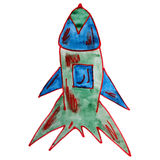 Watercolor drawing kids cartoon missile white Stock Photos