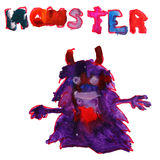 Watercolor drawing kids cartoon monster on  white Stock Photography