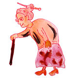 Watercolor drawing kids cartoon old woman on white Stock Photo