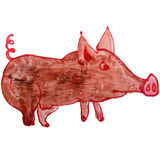 Watercolor drawing kids cartoon pig on white Royalty Free Stock Photography