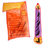 Watercolor drawing kids cartoon questionnaire on a Stock Image