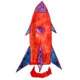 Watercolor drawing kids cartoon rocket white Royalty Free Stock Photography