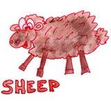 Watercolor drawing kids cartoon sheep on  white Stock Photos