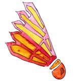 Watercolor drawing kids cartoon shuttlecock on a white backgroun Royalty Free Stock Image
