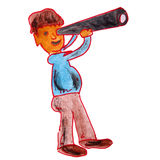 Watercolor drawing kids cartoon telescope on white Royalty Free Stock Image