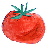 Watercolor drawing kids cartoon tomato on white Royalty Free Stock Photo