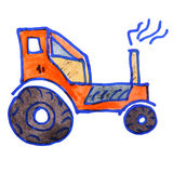 Watercolor drawing kids cartoon tractor on white Royalty Free Stock Photo