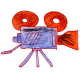 Watercolor drawing kids cartoon video camera on a Royalty Free Stock Photography