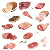 Watercolor drawing meat. Isolated at white background, hand drawn food illustration Royalty Free Stock Photos