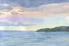 Watercolor drawing of the mediterranean dawn Royalty Free Stock Photos