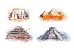 Watercolor drawing most famous buildings, architecture, sights of different countries. Abu Simbel, Great Temple of stock illustration