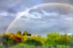 Watercolor drawing natural rainbow stock photo