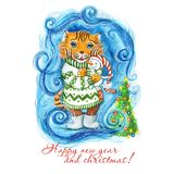 Watercolor drawing of a New Year`s Christmas tiger in a green sweater and with a toy, a snowman in hand, next to the tree with a g royalty free illustration