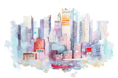 Watercolor drawing of New York cityscape, USA. Manhattan aquarelle painting.  Stock Photo