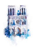 Watercolor drawing of Notre-dame. aquarelle Paris view painting Royalty Free Stock Photo