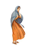 Watercolor Drawing Of Woman In Ancient Clothes Stock Photo