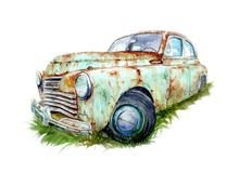 Watercolor drawing of a old rusty car royalty free illustration