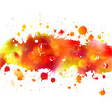 Watercolor drawing orange autumn tape with splashes Stock Photo