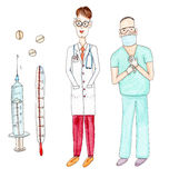 Watercolor drawing paining portrait of doctor and surgeon, set. Set of surgeon, doctor, pills, thermometer and disposable syringe - watercolor hand drawn stock illustration
