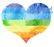 Sketchy doodle rainbow heart illustration. Watercolor drawing of the rainbow heart with a light pattern painted on it stock illustration