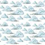 Watercolor drawing, seamless pattern, blue clouds on white background, fine pattern. Drawing with watercolor of blue clouds with gray clouds on white background Stock Photo