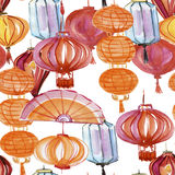 Watercolor drawing seamless pattern Chinese lantern, lamp festive garland new year. China Stock Photography