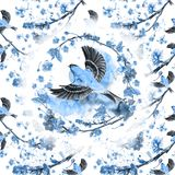 Watercolor drawing seamless pattern on the theme of spring, heat, illustration of a bird of a sparrow-like fleet of Orioles flying. With open wings, feathers Stock Photography