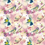 Watercolor drawing seamless pattern on the theme of spring, heat, illustration of a bird of a troop of passerine-shaped large tits. Flying, with open wings Royalty Free Stock Photos