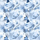 Watercolor drawing seamless pattern on the theme of spring, heat, illustration of a bird of a troop of passerine-shaped large tits. Flying, with open wings Royalty Free Stock Photo