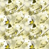 Watercolor drawing seamless pattern on the theme of spring, heat, illustration of a bird of a troop of passerine-shaped large tits. Flying, with open wings Stock Images