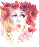 Watercolor drawing summer girl of poppies. Red, orrange, yellow, rose colors Royalty Free Stock Images