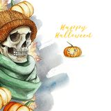 Watercolor drawing in the theme of Halloween dull human skull in orange knitted warm woolen hat and green scarf, against the back. Ground of red pumpkins and Stock Images