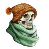 Watercolor drawing in the theme of Halloween dull human skull in orange knitted warm woolen hat and green scarf,background waterco. Lor stains of gray color Royalty Free Stock Photo