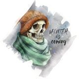 Watercolor drawing in the theme of Halloween dull human skull in orange knitted warm woolen hat and green scarf,gray ice, frost,. Background watercolor stains Stock Photo