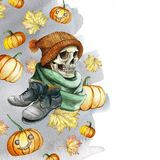 Watercolor drawing in the theme of Halloween dull human skull in orange knitted warm woolen hat and green scarf, gray shoes, again. St the background of red Stock Photo