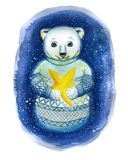 A watercolor drawing on the theme of New Year and Christmas, a drawing of a polar bear, stock illustration