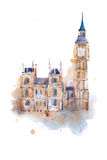 Watercolor drawing Westminster Palace in London. Aquarelle painting Houses of Parliament, Big Ben Stock Image