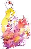 Watercolor drawing of a woman dancing Flamenko in  Yellow dress. 