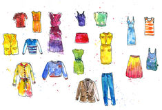 Watercolor drawing women's dresses Royalty Free Stock Photos